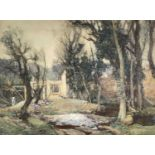 Samuel John Lamorna BIRCH (1869-1955) Building in the valley, Lamorna Watercolour Signed and to