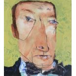 Julian DYSON (1936-2003)Steve (Davis)Mixed media on card Signed, inscribed and dated 05/0025 x 22cm