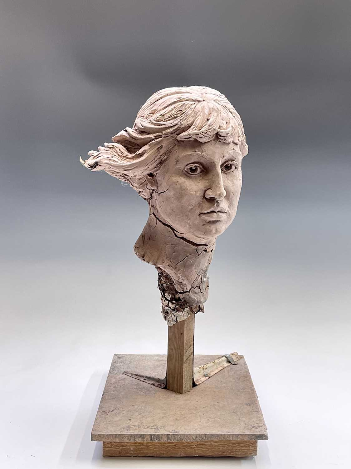 Alec WILES (1924)Female Head Clay sculpture Height 58cm - Image 3 of 17