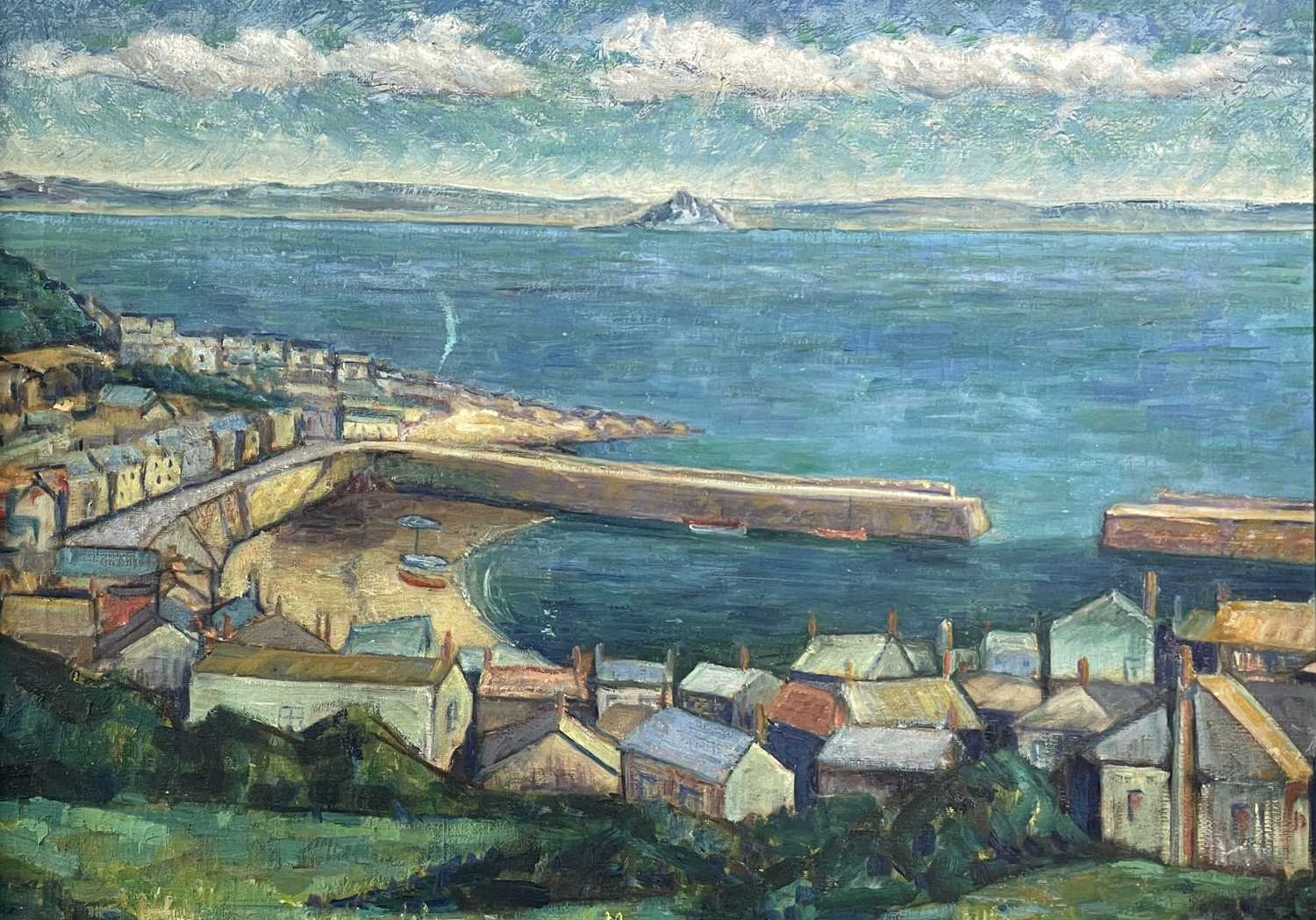 Newlyn School A View of Mounts Bay Overlooking Mousehole Harbour Oil on canvas 50 x 70cm