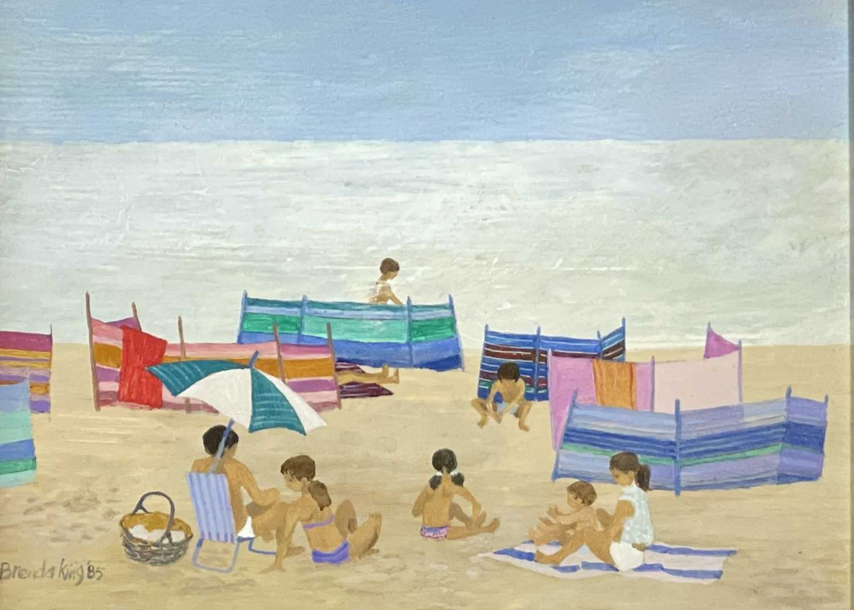 Brenda KING (1934-2011) Windbreaks, Porthmeor Oil on board Signed and dated 1985 15x20.5cm