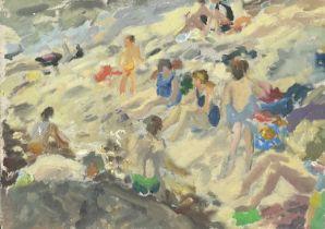 John HARVEY (1935)Bathers on the Beach Oil on cardArtist's studio stamp to verso 24 x 34cm