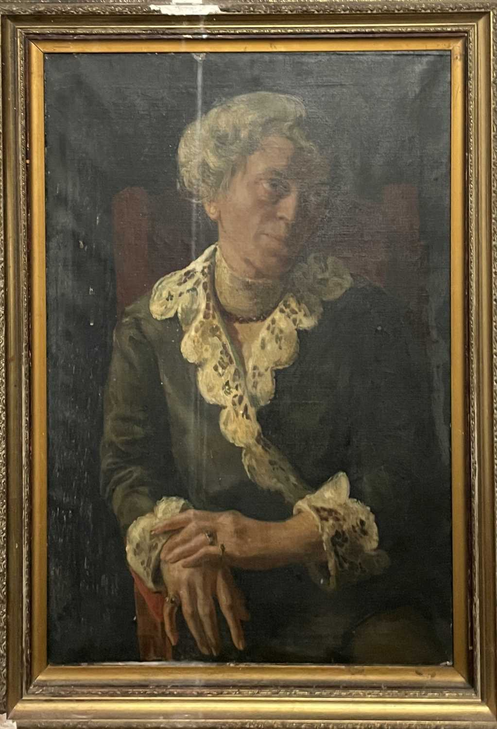 Pre-War English school Portrait of a seated lady Oil on canvas 76x50cm - Image 2 of 7