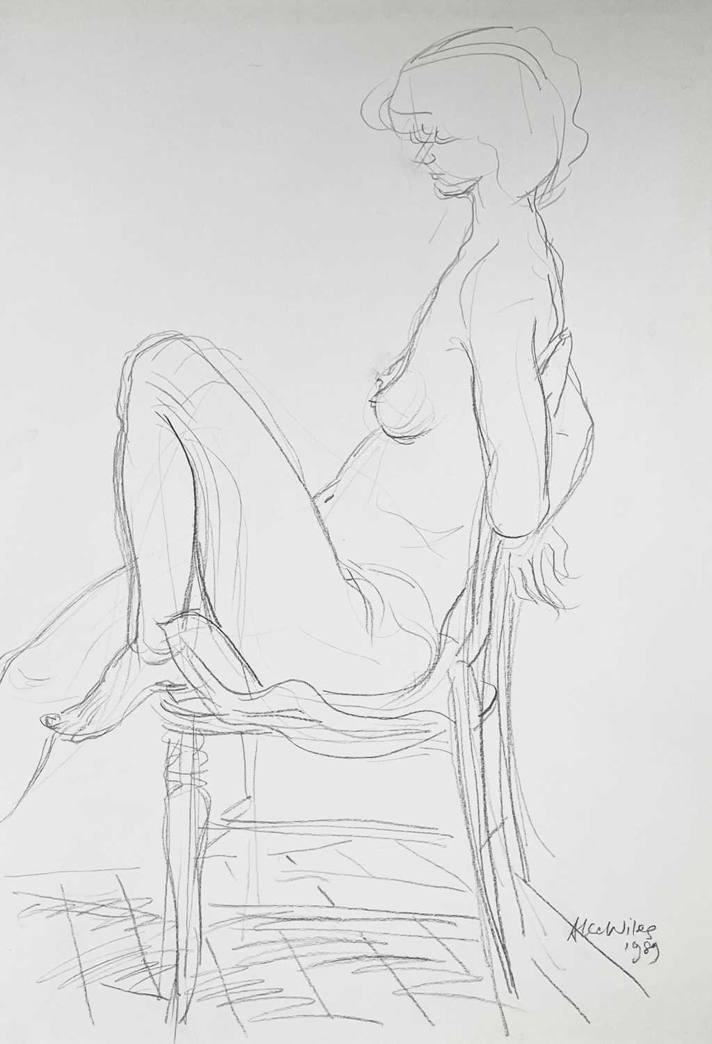 Alec WILES (1924) Nude drawings A collection of thirteen Mostly signed Mostly 60x42 Together with - Image 5 of 46