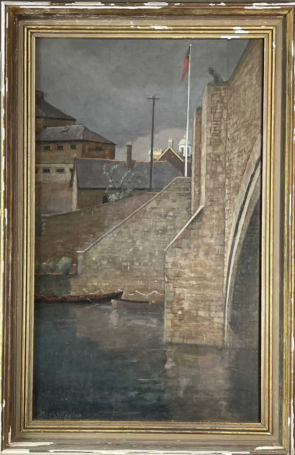Alec WILES (1924) City Bridge Oil on board Signed and dated '90 59x35cm - Image 2 of 3
