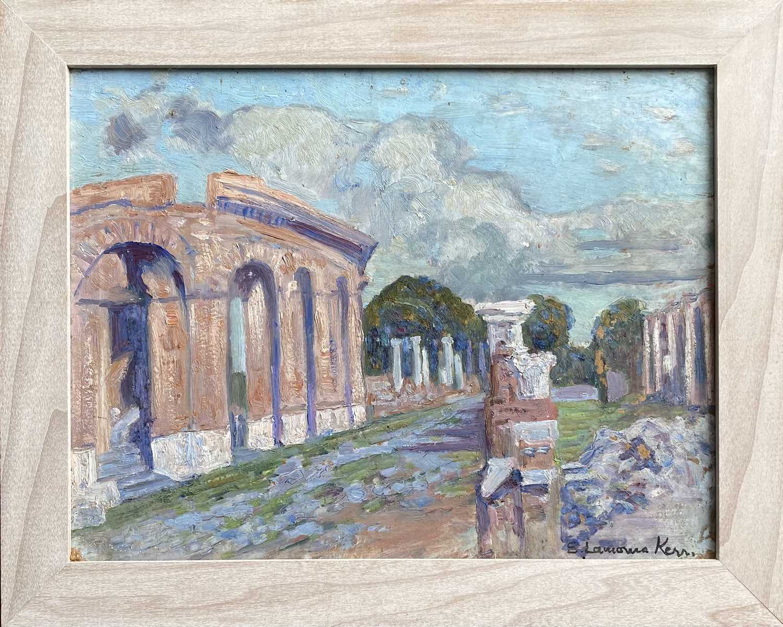Elizabeth Lamorna KERR (1905-1990)Ostia Antica, Rome Oil on board Signed Inscribed to verso 26 x - Image 3 of 3