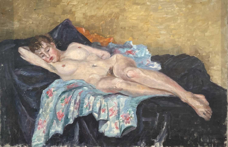 Garlick BARNES (1891-1987)Reclining Nude Oil on canvas Signed to verso 51 x 76cm Garlick Barnes