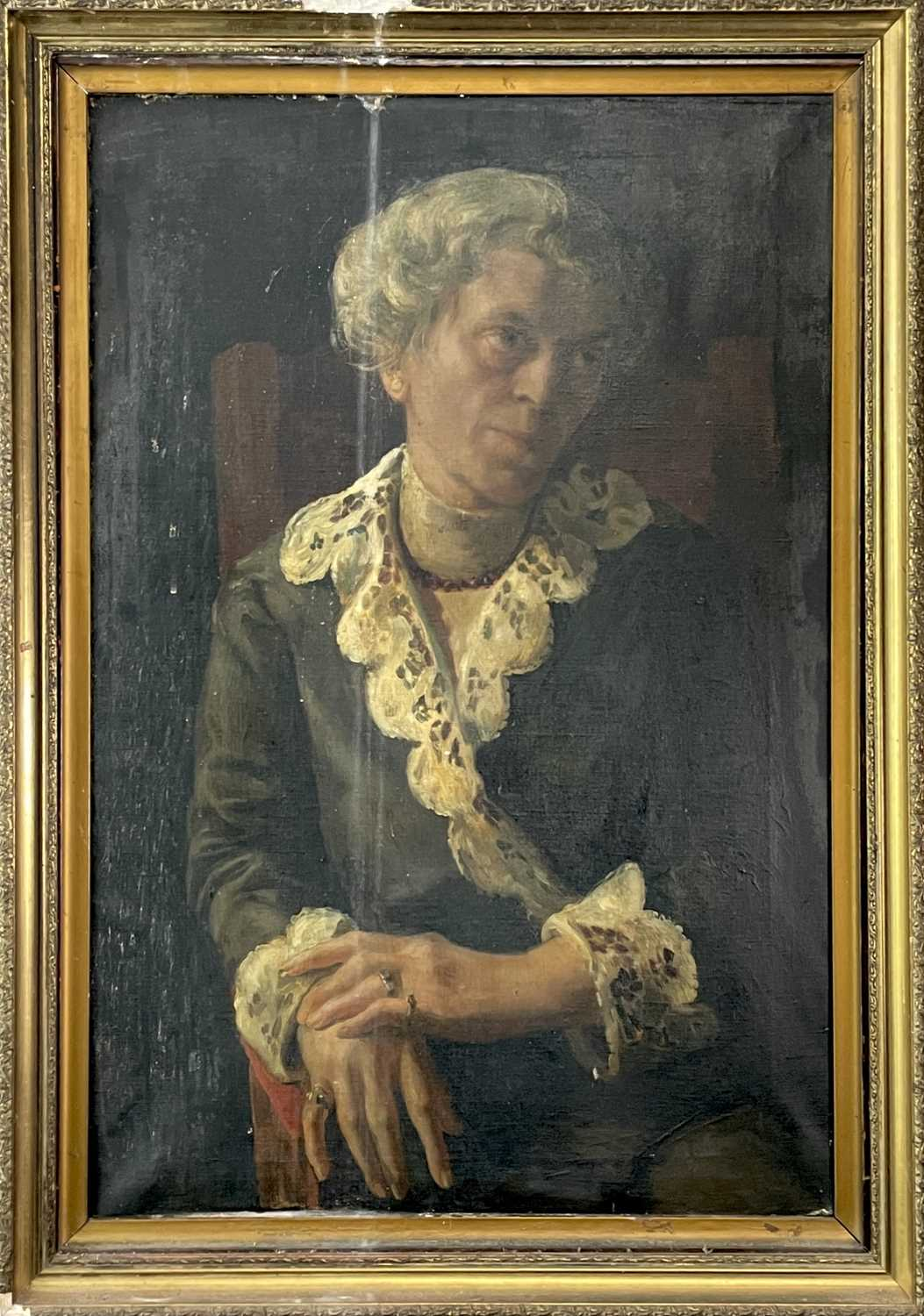 Pre-War English school Portrait of a seated lady Oil on canvas 76x50cm - Image 5 of 7