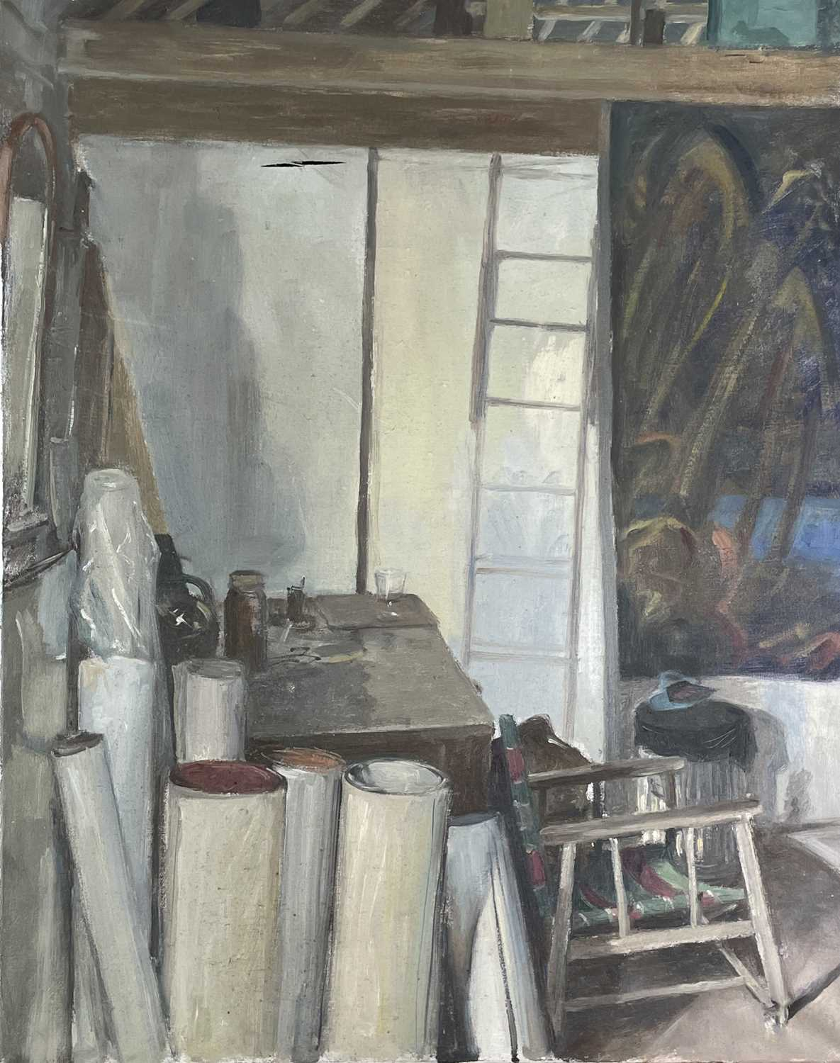 Alec WILES (1924) The Artist's Studio Oil on canvas 76x61cm Together with a second interior, oil - Image 4 of 5
