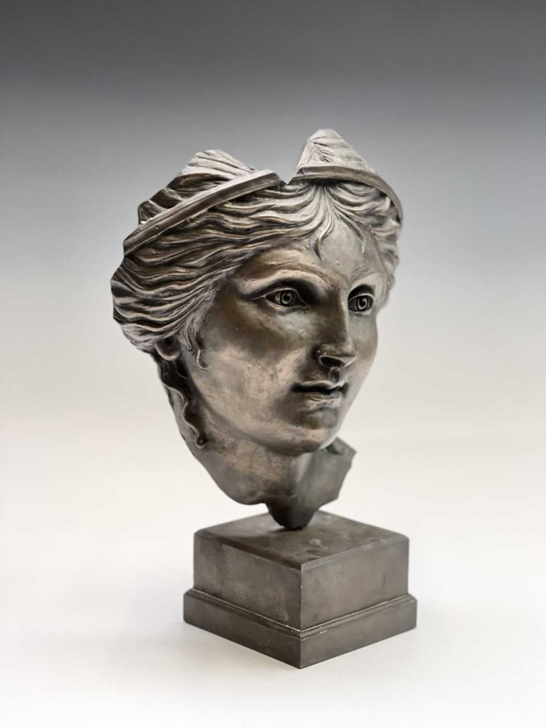 Alec WILES (1924)Aphrodite Bronzed resin mask and plinth Height 35cm - Image 8 of 8