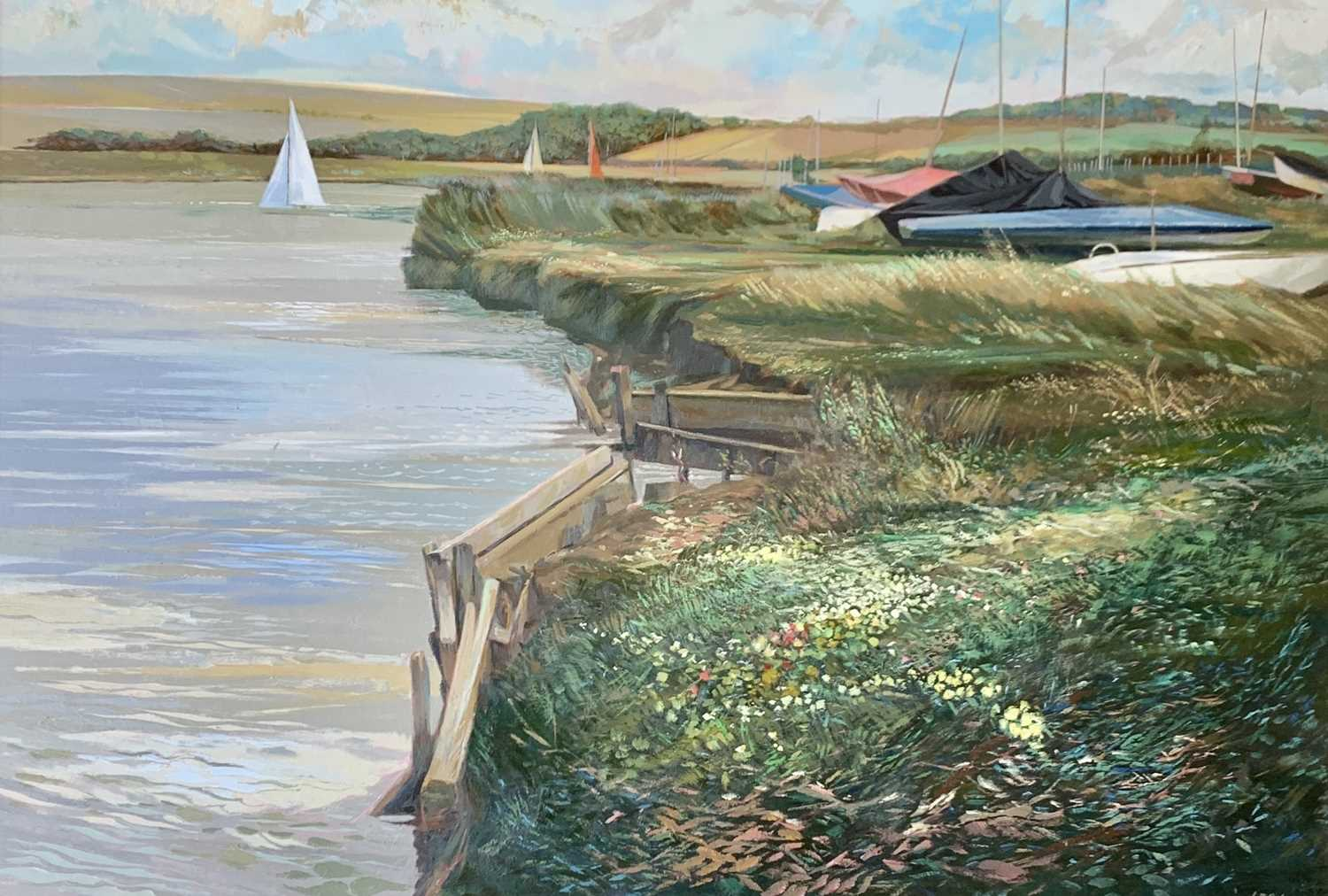Les COLDRICK The Slipway Oil on board Signed and dated '86 70x91cm Together with Les COLDRICK - Image 5 of 5