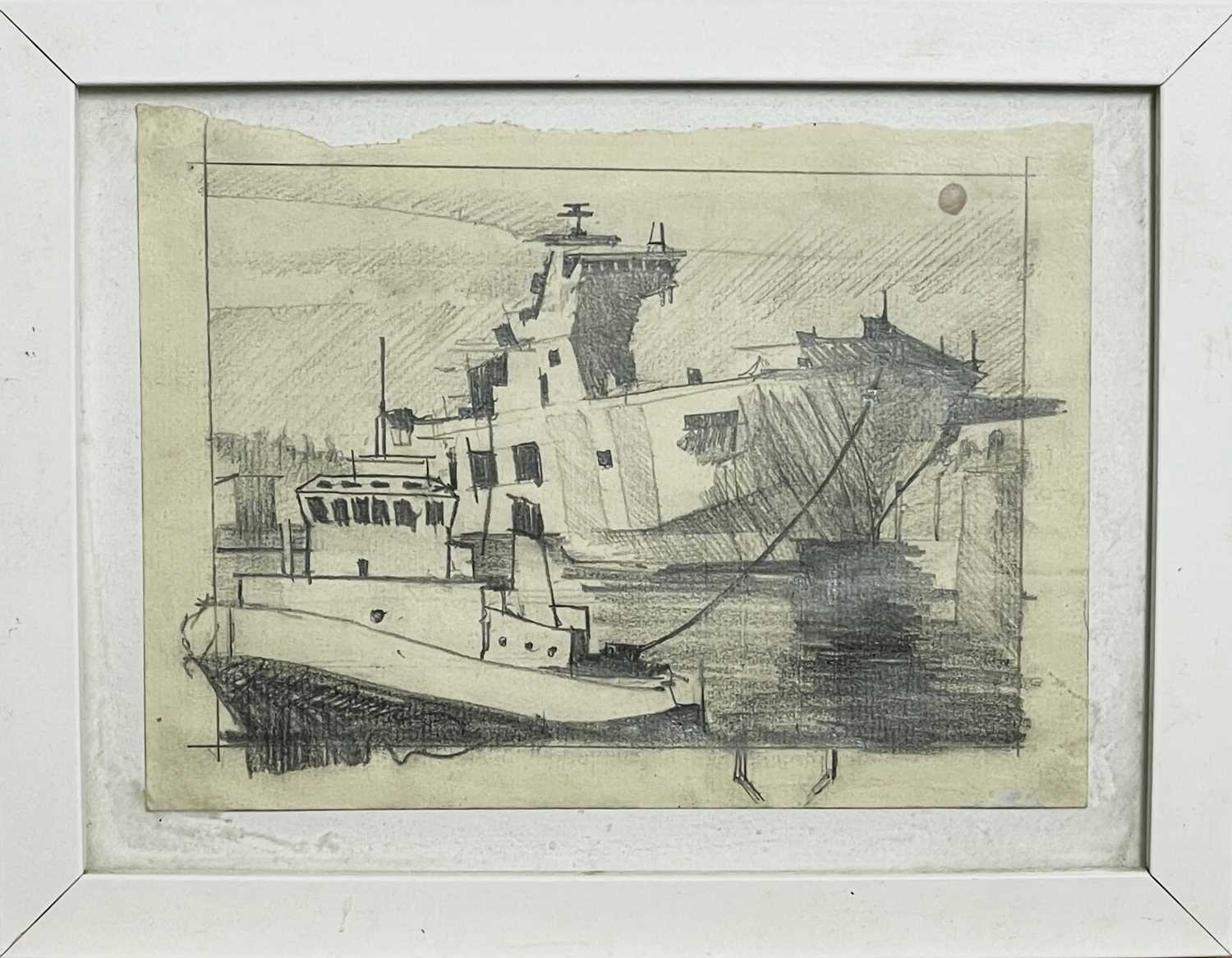 Theo CRUTCHLEY-MACKFalmouth Docks DrawingSigned and inscribed to verso 14 x 18cm - Image 3 of 3