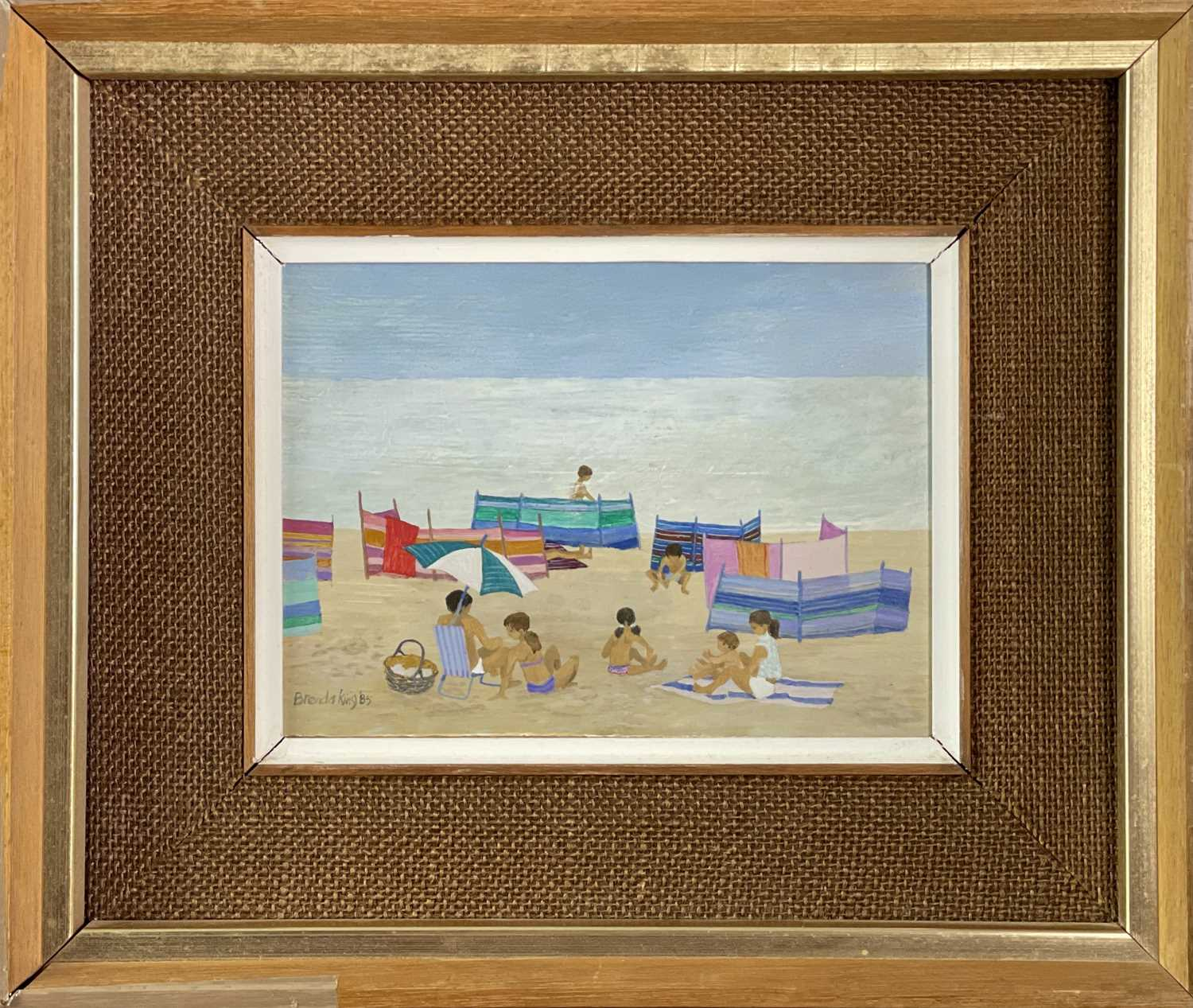 Brenda KING (1934-2011) Windbreaks, Porthmeor Oil on board Signed and dated 1985 15x20.5cm - Image 2 of 3