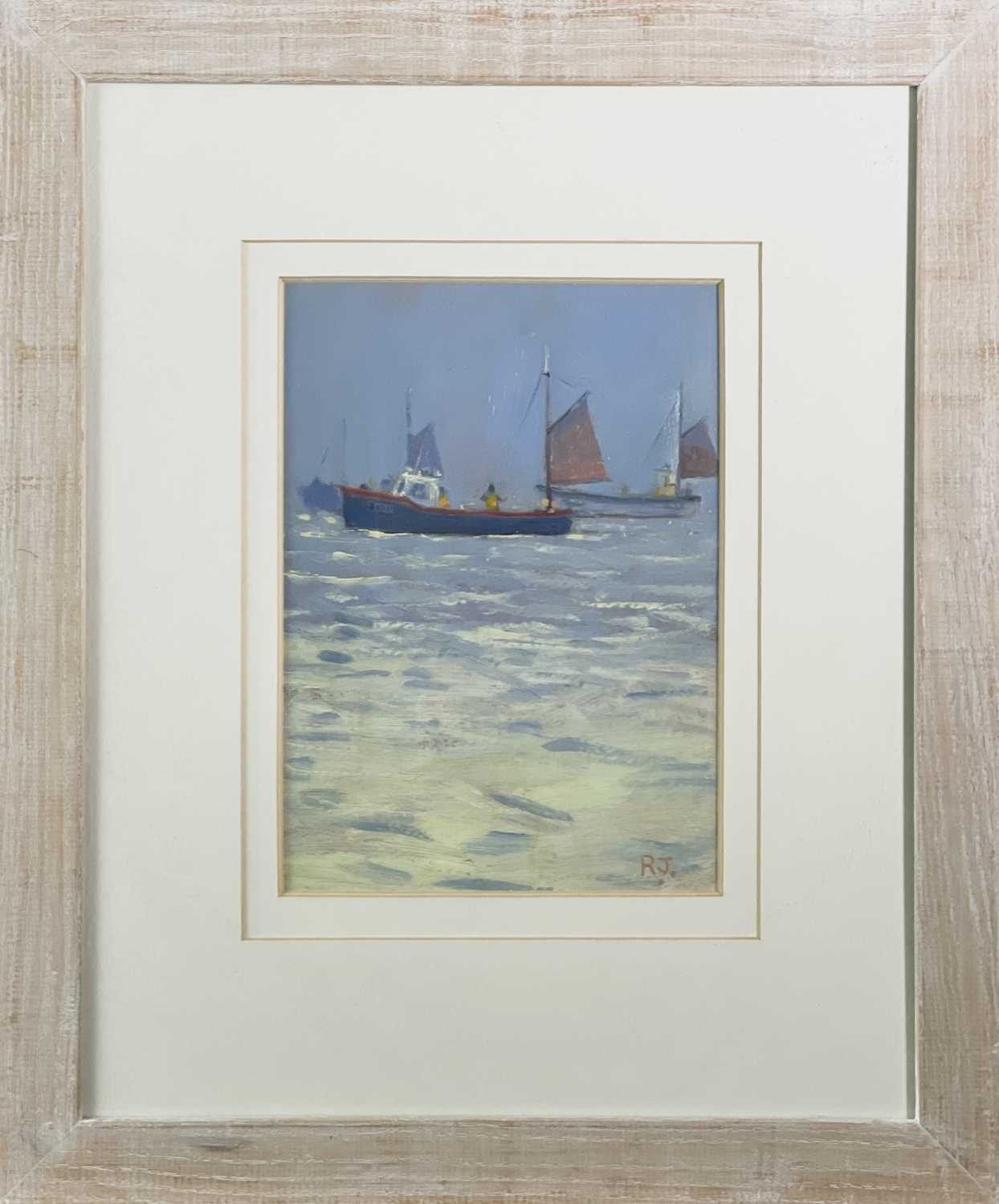 Robert JONES (1943)Mackerel Fishing Oil on board Initialled Signed, inscribed and dated 2003 to - Image 2 of 3