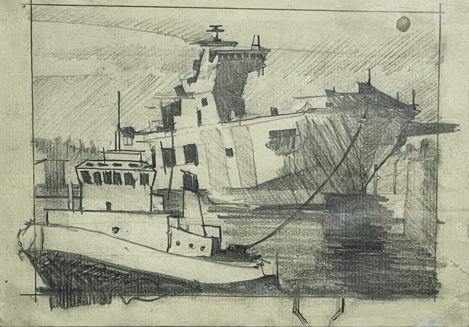 Theo CRUTCHLEY-MACKFalmouth Docks DrawingSigned and inscribed to verso 14 x 18cm