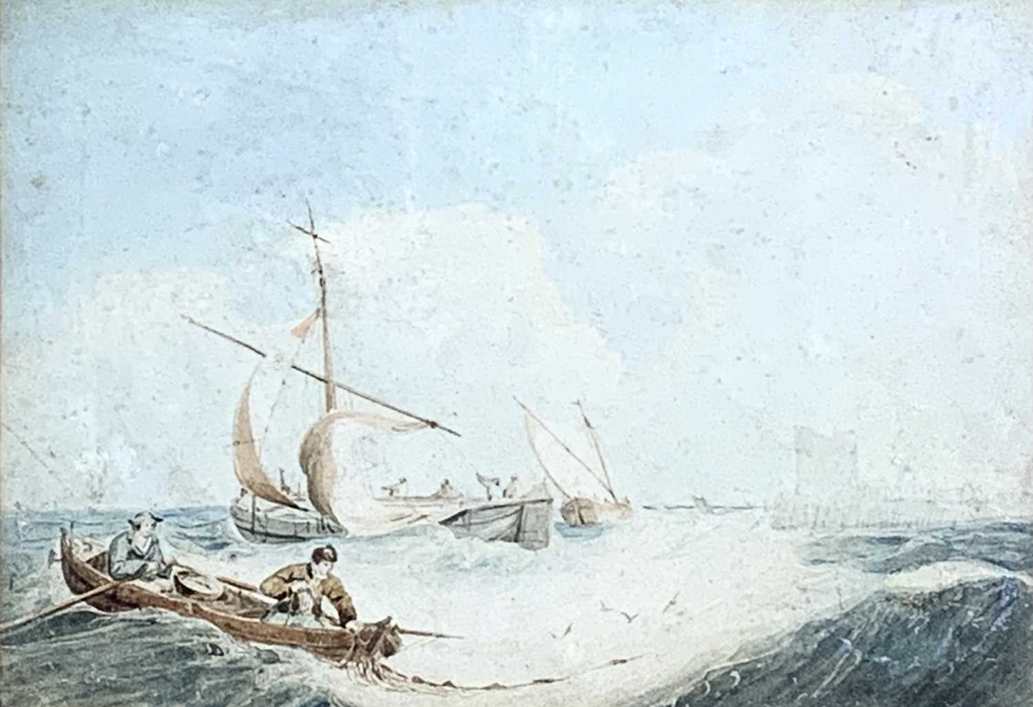 Attributed to Samuel Owen Marine Watercolour Together with a watercolour of a lighthouse by George H - Image 2 of 6