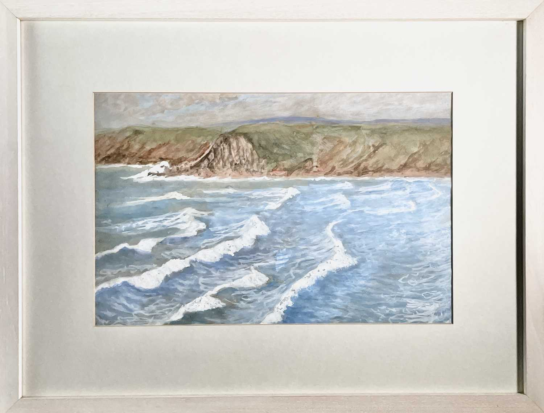 Lilian BLAND (1878-1971) (Aviator)Sennen SeascapeWatercolour/gouache28x43cmNews article to verso - Image 4 of 7