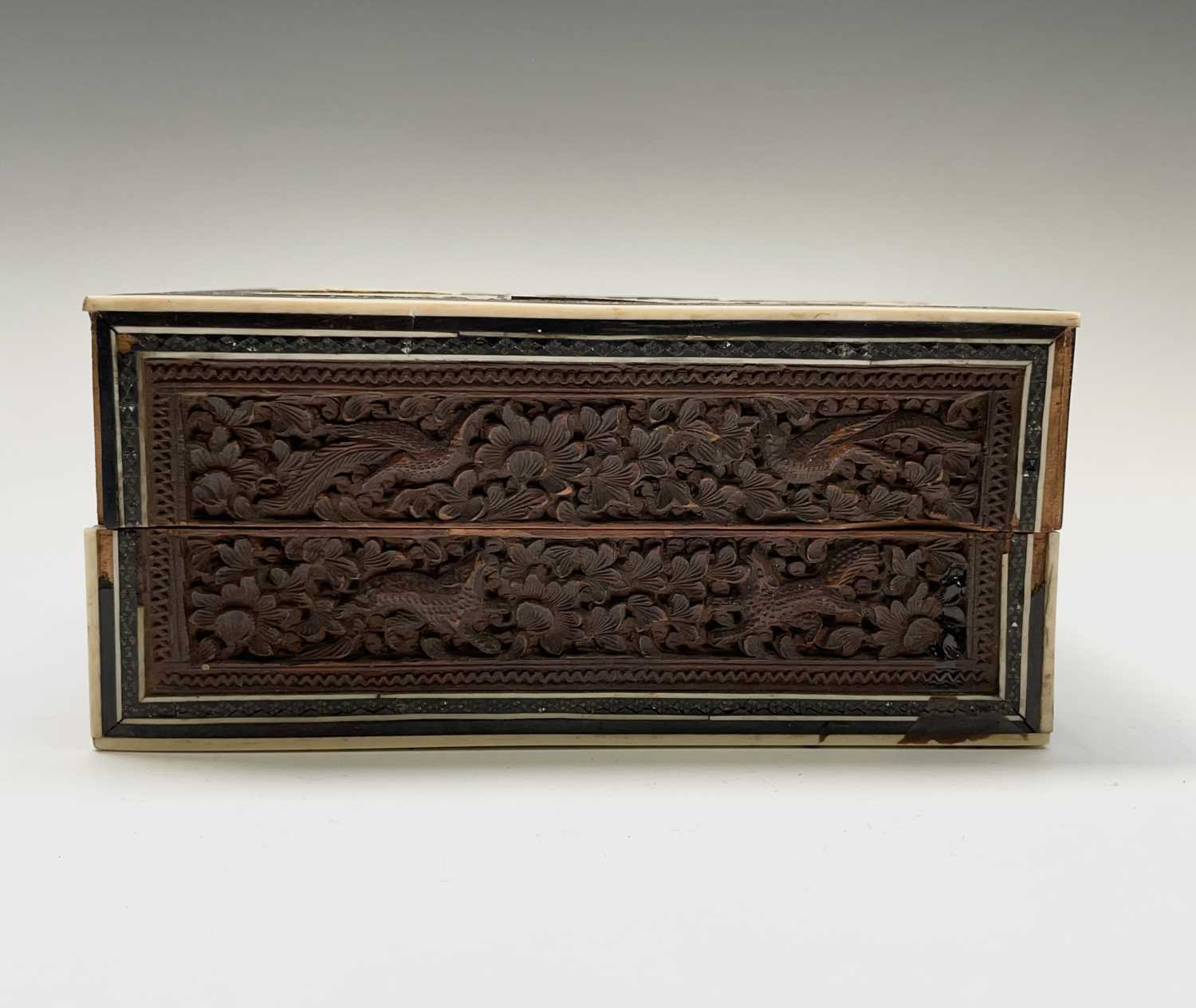 An Anglo Indian Vizagapatam and sadeli work banded folding cribbage board, 19th century, full length - Image 4 of 10
