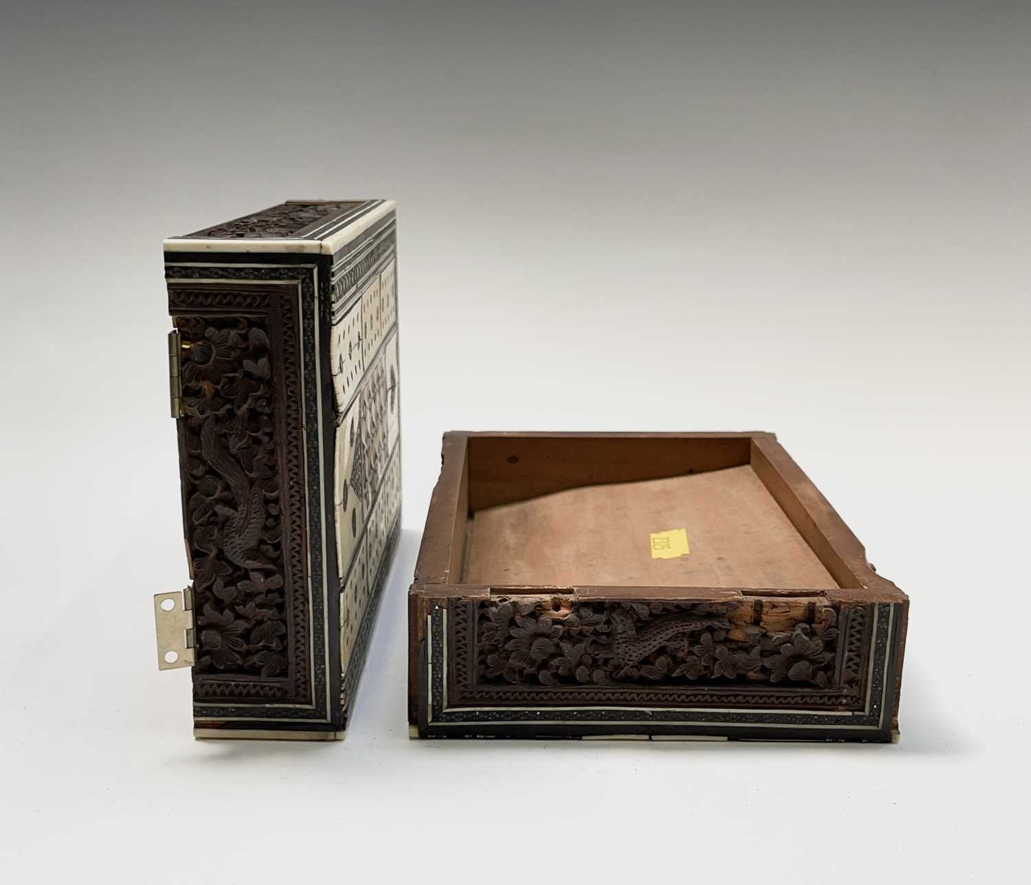 An Anglo Indian Vizagapatam and sadeli work banded folding cribbage board, 19th century, full length - Image 7 of 10