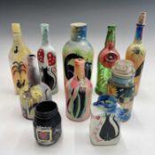 PONKLE (1934-2012) 10 painted bottles and jars