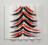 Terry FROST (1915-2003) Red and Black Tree (Squeeze) A concertina Christmas card Screen print 14 x