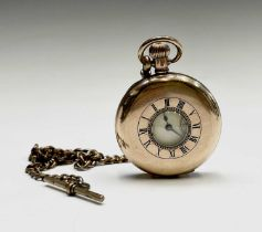A Waltham Seven Jewels half hunter keyless gold plated pocket watch no. 2599232 and chain.