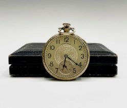 A gold-plated Hamilton keyless pocket watch with seventeen jewel 912 movement no. 3210335 43.74mm