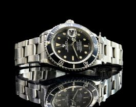 A Rolex stainless steel Submariner wristwatch No. 8850657 circa 1985 with date aperture on 93150