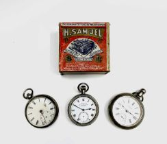 A Victorian silver cased open face key wind pocket watch, a Samuel nickel cased pocket watch with