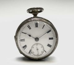 A Victorian chased silver cased small open face keywind pocket watch the movement signed Maria T