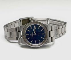 A ladies Omega stainless steel automatic Geneve Date blue dial wristwatch 26.17mm diameter with
