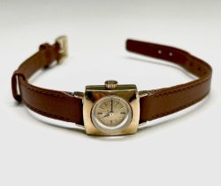 A ladies square 18ct gold Omega wristwatch with cal 483 movement no. 20186882, the case 15.2x17.5mm,