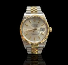 A Stainless steel and 18ct yellow gold Rolex Oyster Perpetual Datejust gentleman's wristwatch no.
