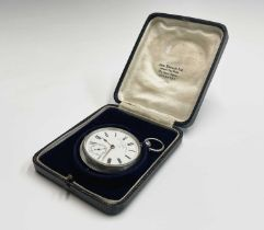 """A silver cased open-face pocket watch by W C Mann Gloucester """"Maker to The Admiralty"""" with key"""