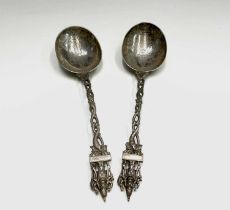 A pair of Indian silver deity spoons 21cm 139.3gmCondition report: No condition issues