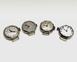 Four ladies silver cased trench style watches.Condition report: All working, used condition