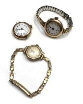 Three ladies 9ct gold cased wristwatches
