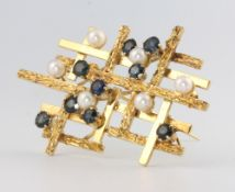 A stylish 1970's 18ct yellow gold sapphire and pearl brooch 51mm x 31mm, 12.5 grams