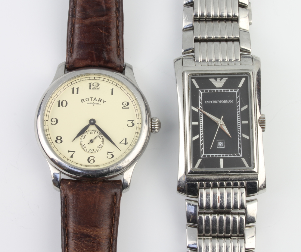 A gentleman's steel cased Rotary wristwatch with seconds at 6 o'clock contained in a 38mm case on
