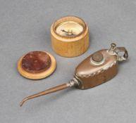 Meccano, a miniature copper oil can, the base marked Meccano K, 3cm h x 10cm w x 2cm d, together