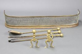A Victorian pierced brass and steel fender 19cm h x 110cm w x 26cm d together with a pair of brass