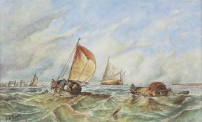 """Walter Pearson, watercolour, """"Returning to Port"""" signed 12cm x 20cm"""