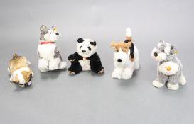A Steiff figure of a Husky 38cm x 35cm, ditto Bulldog 24cm x 11cm, ditto Airedale Terrier 35cm x