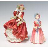 A Royal Doulton figure - Diana HN1986 14cm, ditto Top O'The Hill HN1834 18cm