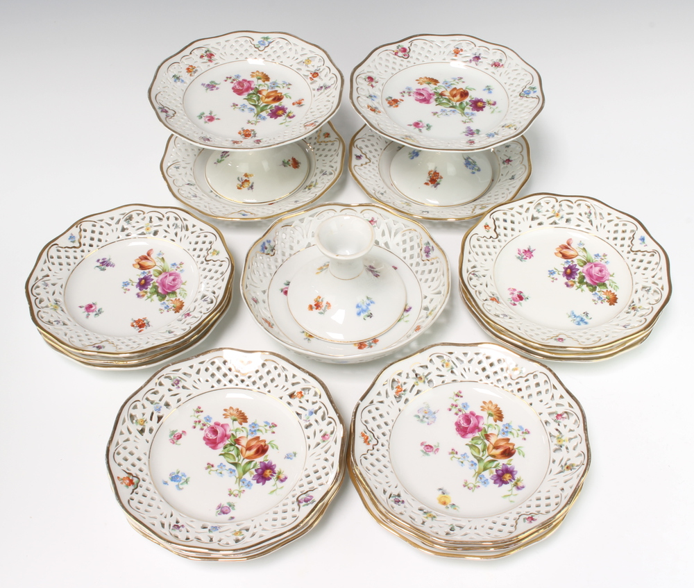 A 20th Century Dresden dessert service comprising 3 tazzas 19cm (1 damaged) and 14 plates, all