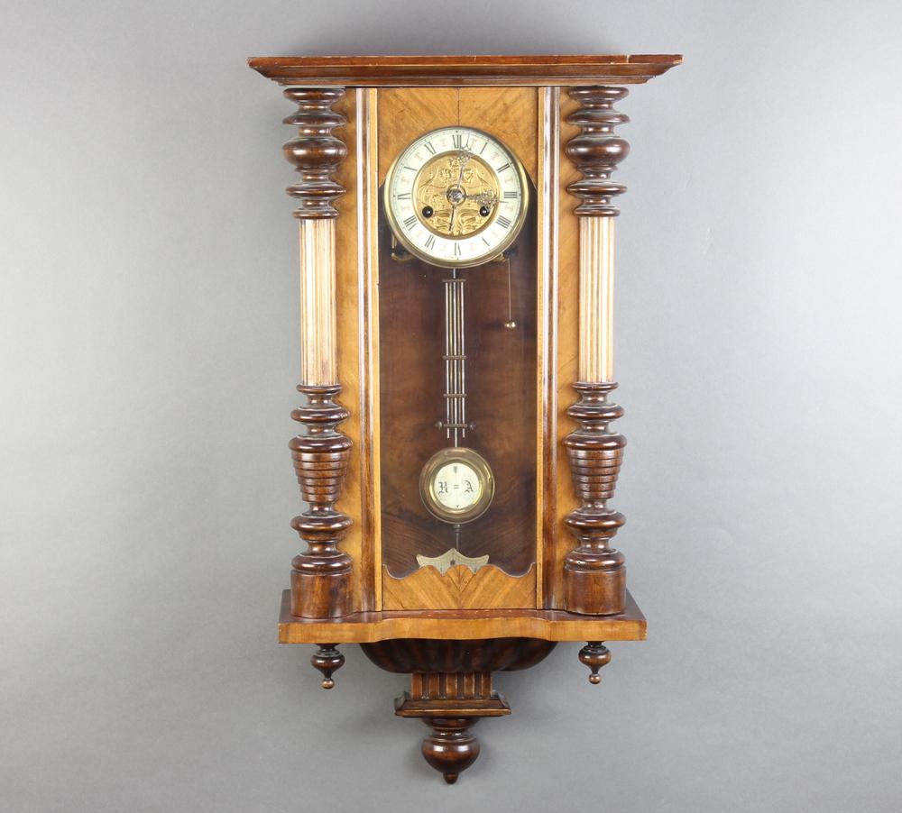 A Vienna style Art Nouveau regulator, the 13cm enamelled dial with Roman numerals, having a grid