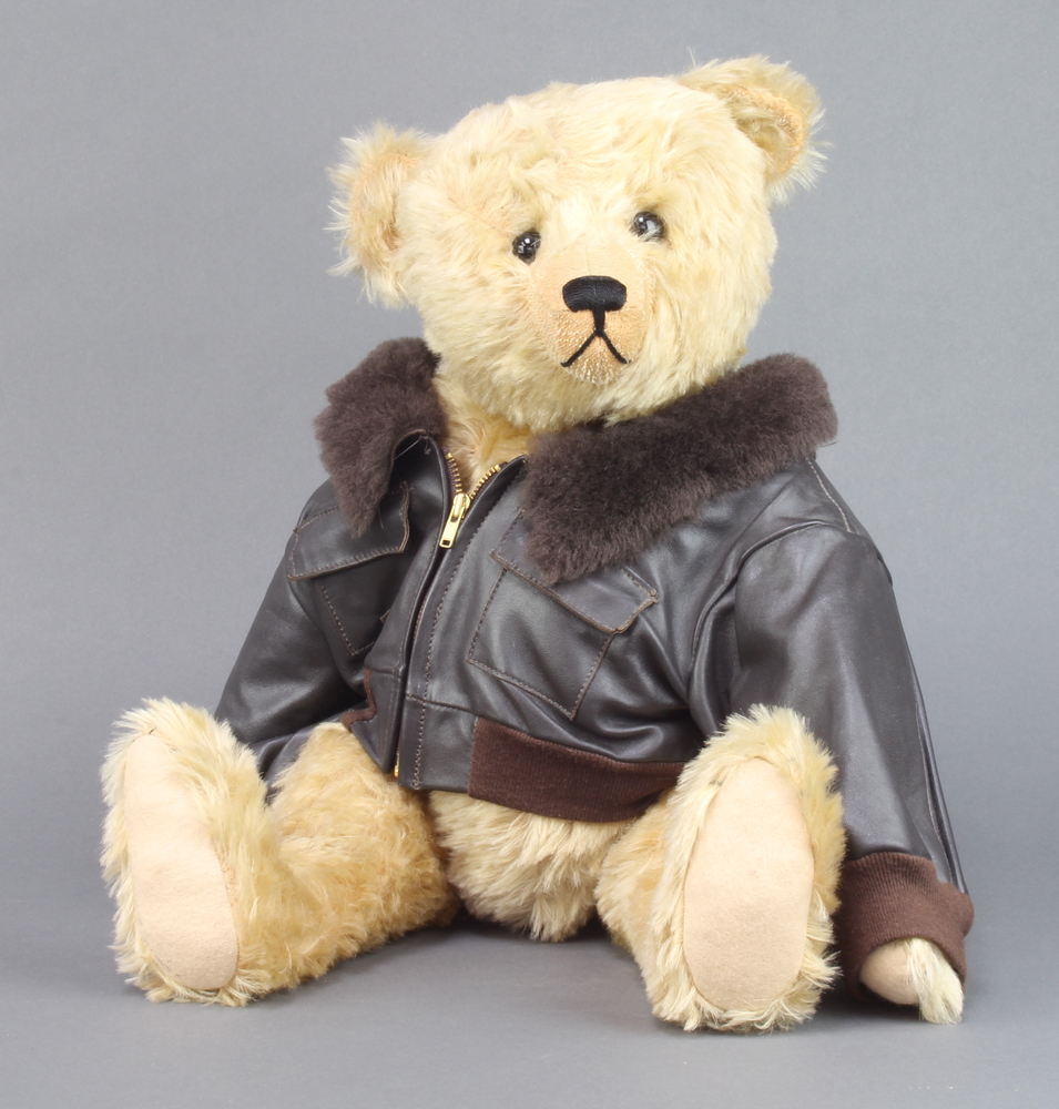 """Frances Harper, an Apple of My Eye limited edition bear with articulated limbs, wearing a leather """""""