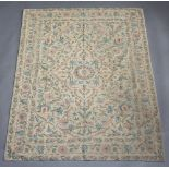 A Kashmiri stitched wool work panel with floral decoration 190cm x 36cm Lightly stained in places
