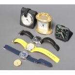 A gilt cased carriage timepiece and minor watches