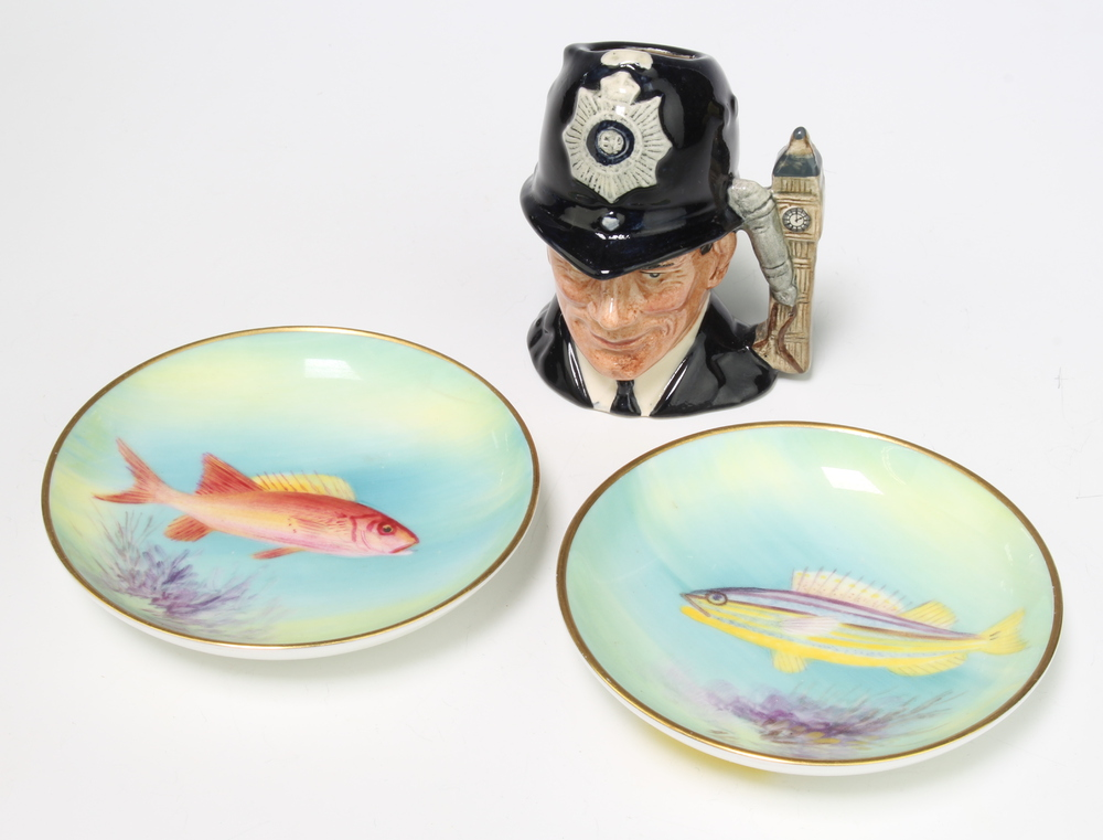 """Two Royal Worcester dishes decorated fish """"Yellow Grunt"""" 9cm and """"Squirrel"""" 9cm together with a"""